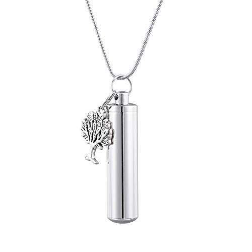 - HooAMI Cremation Urn Keepsake Necklace for Ashes Memorial Jewelry with Family Tree Charm 4.8cmx1.1cm