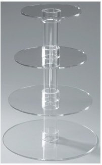 Utenlid 4-Tier Stacked Party Cupcake and Dessert Tower - Clear Acrylic Cake Stand