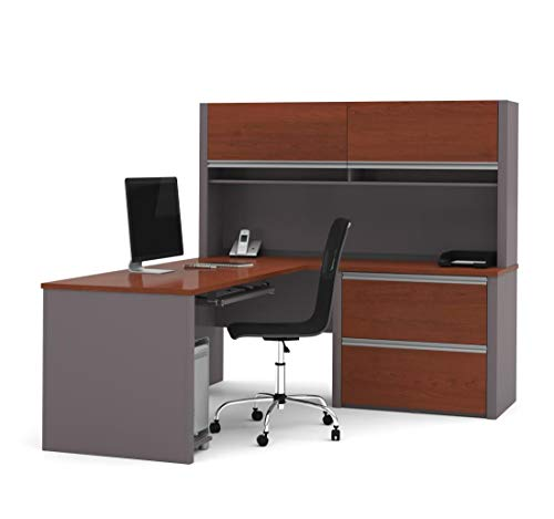 Bestar L-Shaped Desk with lateral File Cabinet and Hutch - Connexion