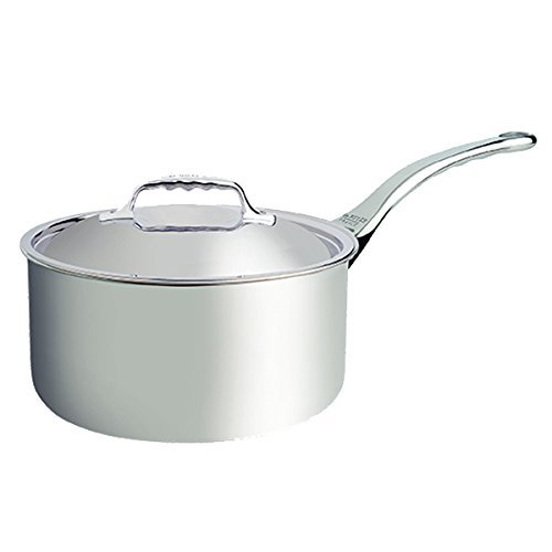 De Buyer Professional 16 cm Stainless Steel Affinity Medium Saucepan with Lid 3746.16