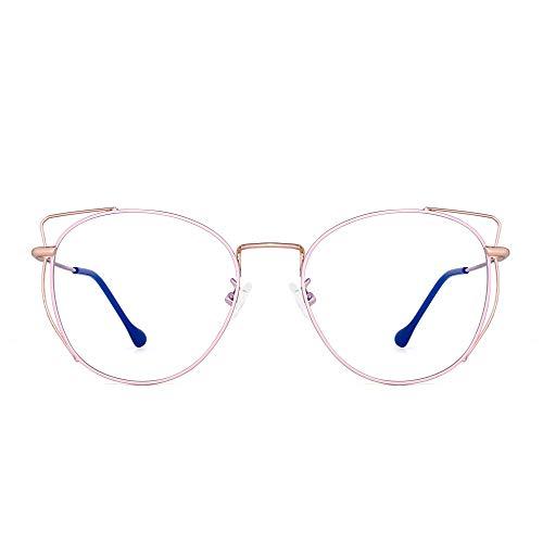 Blue Light Blocking Computer Glasses Designer Cat Eye Round Metal RX-able Eyeglasses Frame for Women Reduce Eye Strain Pink (Electromagnetic Cat)