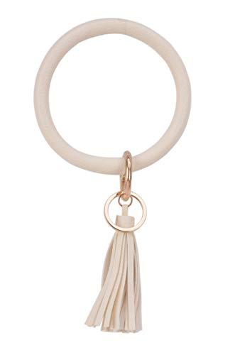 - Big Bracelet Bangle Keychain Keyring - Large O Wristlet Leather Tassel Bracelet Key Holder Key Chain Key Ring By Coolcos (White)