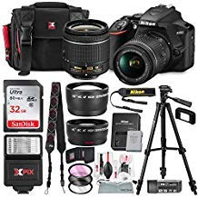 Nikon D3500 DSLR Camera with AF-P DX NIKKOR 18-55mm f/3.5-5.6G VR Lens + 32GB Card, Flash, Tripod, and Bundle (Nikon Cameras D3200)