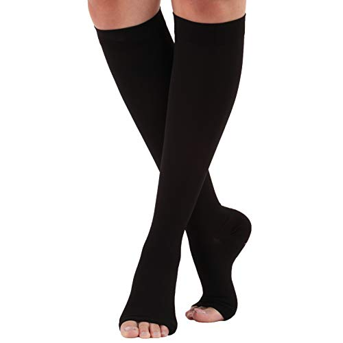 2XL Made in The USA Opaque Compression Socks Knee-Hi Open Toe 20-30mmHg Black