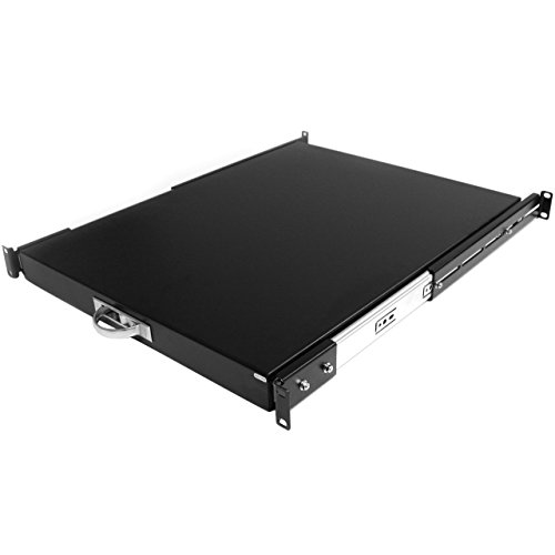 "StarTech.com 1U Sliding Server Rack Mount Keyboard Shelf Tray - 55lbs - 22"" Deep Steel Pull Out Drawer for 19"" AV, Network Equipment Rack (SLIDESHELFD)"