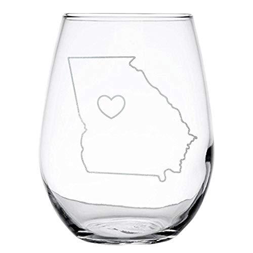Glass Art Georgia (Engraved Wine Glass, Stemless, 15 oz-Georgia Love-By Art of Engraving)