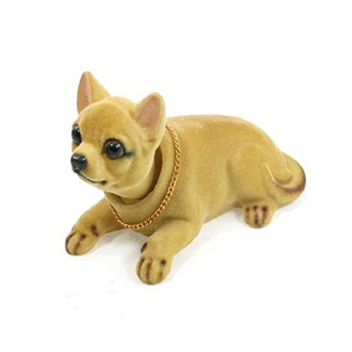 Domccy Shaking Head Lucky Dog Bobbing Heads Car Dash Puppy for Car Vehicle Decoration Chihuahua Brown Toys & Games, Doll House, Children's Toys, Halloween Game ()