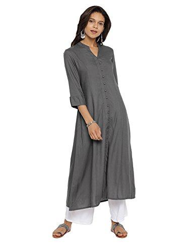 Aaboli Rayon Emroidered A-Line Kurta for Women 3/4th Sleeve Mandarin Collar Long Dress Printed Tunic Casual Kurti for Women Ladies - India Kurta