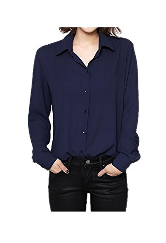 ARJOSA Women's Chiffon Long Sleeve Button Down Casual Shirt Blouse Top