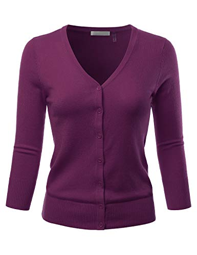 EIMIN Women's 3/4 Sleeve V-Neck Button Down Stretch Knit Cardigan Sweater Purple L
