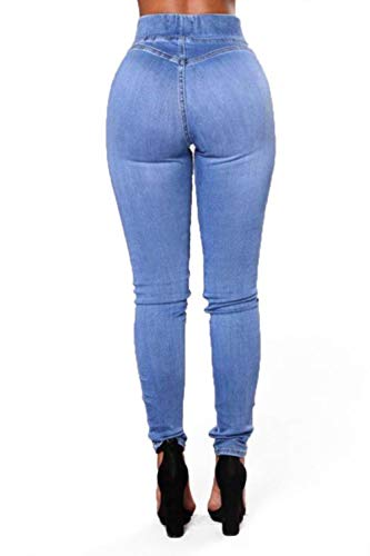 Les Pantalon Jeans De Claires Femmes Bleues Plus Skinny Long Jeans Taille Poche rrW7BYpF
