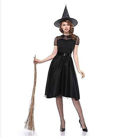 TUWEN Vestido De Traje Negro De Bruja De Halloween Bruja ...