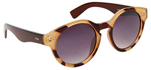 825 Vintage Rounded Wayfarer Sunglasses, Gradient Lens, Classic Style (Brown - Rounded Wayfarer