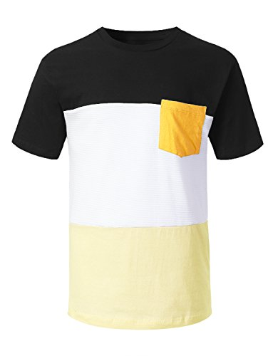 (URBANCREWS Mens Hipster Hip Hop Moto Colorblock Pocket T-Shirt Black, L)