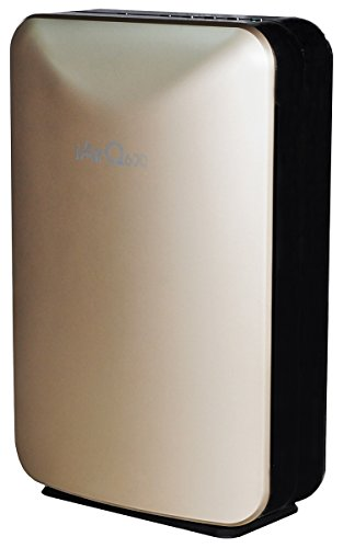 Portable Uv Purifier Air - ClimateRight iAirQ600 Five-Stage Portable Air Purifier with HEPA, Activated Carbon, TiO2, & UV Filters – For Rooms Up to 600 Sq. Ft. – Champagne