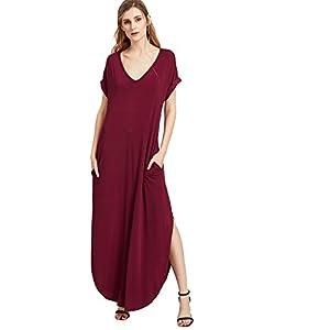 Verdusa Women's V Neck Side Pockets Split Hem Beach Long Maxi Dress Burgundy XS