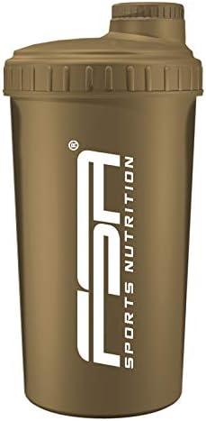 Shaker 700 ml, Preparador de batidos de proteínas y BCAA, libres de BPA ya prueba de vertidos, de la marca de deporte profesional FSA Nutrition - Oro