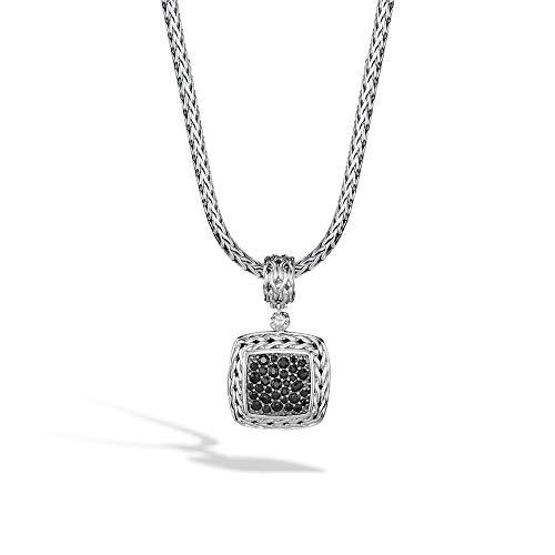 John Hardy Women's Classic Chain Silver Lava Medium Square Pendant with Black Sapphire