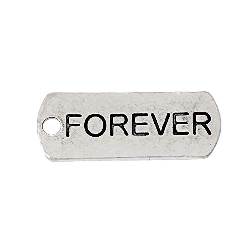 """PEPPERLONELY 30pc Antiqued Silver Alloy Message Forever Carved Rectangle Charms Pendants 21x8mm (7/8"""" x3/8"""")"""