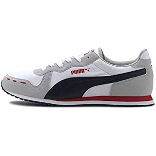 PUMA Cabana Run Sneaker, White-Gray Violet-Peacoat-High Risk Red, 10 M US