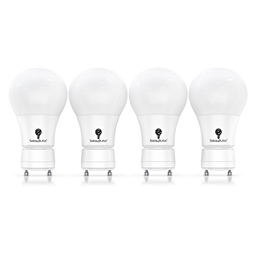 GU24 LED Bulb Fully Dimmable Warm White 3000k A19 Shape GU24 Base Energy Saving LED 9W Bulbs 4 Pack. White 800 Lumens 60 Watt Equivalent Saves 85% Popular GU24 Base, A19 Shape for Warm, Ambient Light