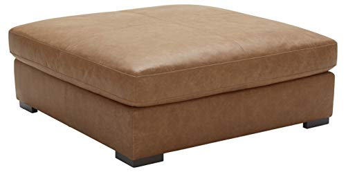 """Stone & Beam Lauren Down Filled Oversized Leather Ottoman with Hardwood Frame, 46.5""""W, Cognac"""