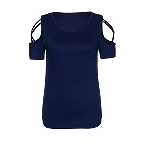 Strappy Donna Corte Navy Off T Sysnant Maglia Donna Manica Elegant di Estate Maglietta Maglia manica Tumblr Forti blu Top estiva donna Spalla Maglietta Shirt corta Moda Taglie qXXwRYF