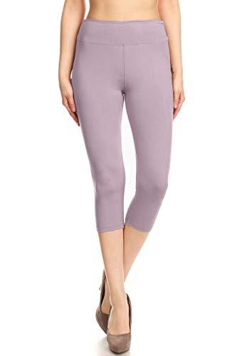 Leggings Mania Women's Wide Waistband Yoga Capri Plus Size Lilac, Plus Size (L XXL, 12 22)