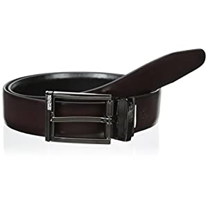 Kenneth Cole REACTION Men's 1 1/4 in. Feather Edge Dress Reversible Belt, Black/Burgundy, 36