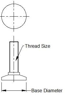 Vital Parts Lot de 10pieds r/églables /à vis t/ête inclinable M10/x/55/mm Pi/ètement de 48/mm
