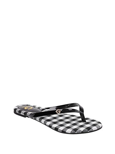 G by GUESS Women's Bayla Gingham Printed Thong Sandals (Patent Leather Guess Sandals)