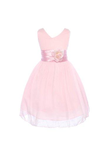 V Neckline Chiffon Flower Girl Dress