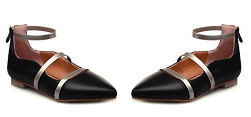 Aisun Womens Confort Élégant Bout Pointu Robe À Glissière Appartements Chaussures Avec Des Sangles De Cheville Noir