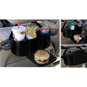 car seat organizer with tray two drink holders 12 long x 7