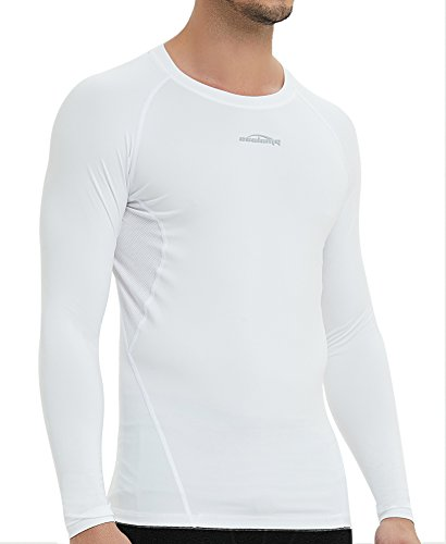 COOLOMG Men's Long Sleeve Shirt Skin Fit Cool Dry Compression Top Baselayer White ()