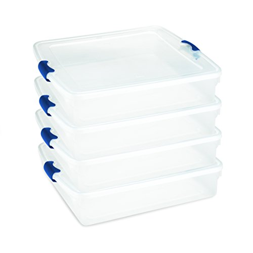 Homz Plastic Storage Underbed Tote Box, Full/Queen, with Lid, Latching Handles, 56 Quart, Clear, Stackable, 4-Pack Clear Flat Square Lid