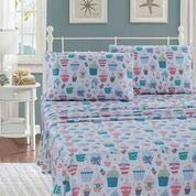 Kids Zone Home Linen 2 Curtain Panel Set for Girls Turquoise Cupcake Pink Green White Pink Dots Flowers