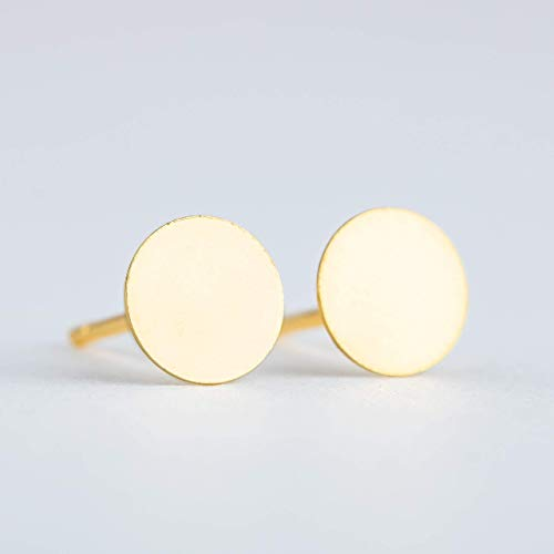 Tiny 3mm Round Circle Dot Disc Stud Earrings in Gold Vermeil