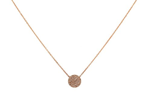 10mm Round Disc with 0.20ct Pave Diamond in 14K Gold Charm Necklace (18, rose-gold) Diamond Round Disc Charm