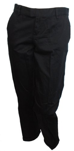 Pant Crop Cuffed (Calvin Klein Jeans Ladies Cuffed Chino Crop Pants (Black,4))