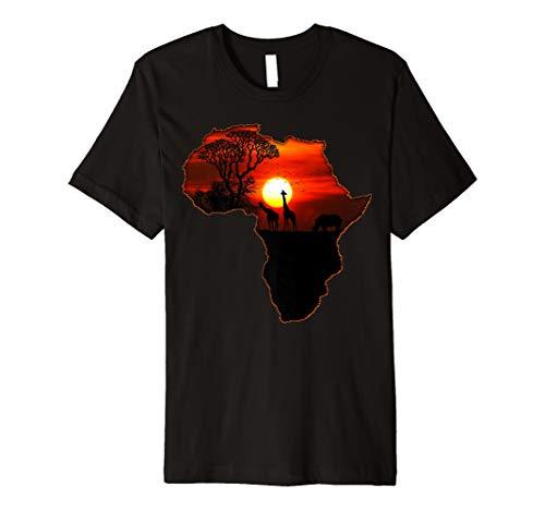 Mens Africa T Shirt Map of Africa South African Big Five Safari 2XL Black (T-shirt Africa Map)