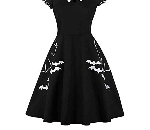 Vestido Black Bat Embroidery Hollow-Out Color Block Peter Pan Collar Retro Halloween -