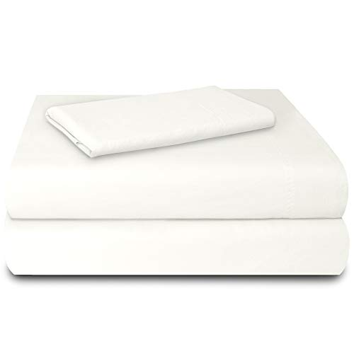 SUN WASHED Hotel Sheets 100% Cotton Soft & Smooth Percale Weave 3 Piece Cotton Sheet Set, Fade, Stain Resistant - Brilliant White, Twin/Twin ()