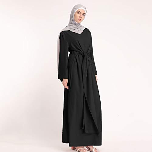 Muslim Dress Fashion Muslim Kaftan Women Soild Color Fake Two-Piece Sleeve Long Dress Middle East Long Maxi Dress Black by BingYELH Muslim (Image #1)