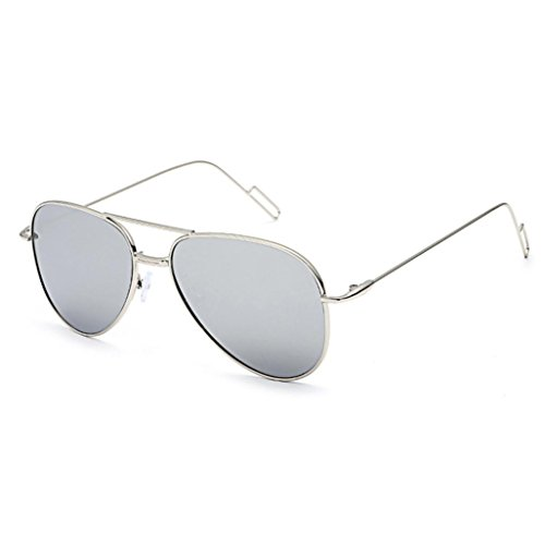 Metal Frame Unsex Sunglasses , Mokao Cat Eye Mirrored Flat Lenses Classic Aviator Sunglasses 100% UV protection - Shape Eye Face Cat Frames