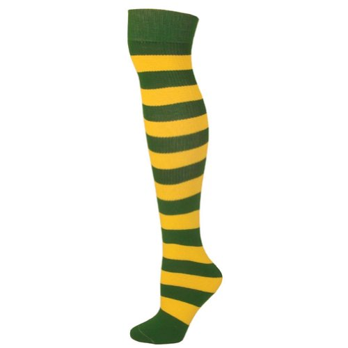 AJs Adult Striped Knee Socks - Kelly Green, Gold Yellow-M
