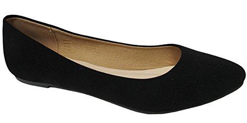 Bonnibel Womens Tinkle-4N Pointed Toe Ballet Flat (7.5 B(M) US, Black NB PU)