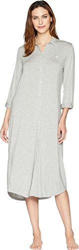 - Lauren Ralph Lauren Women's Long Sleeve Roll Tab Ballet Sleepshirt Heather Grey X-Large