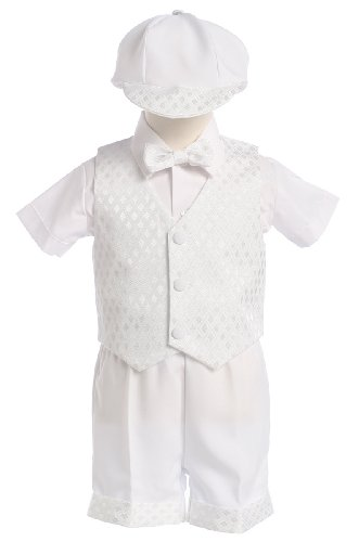 White Diamond Vest and Short Christening or Special Occasion Set with Cap,6 Months