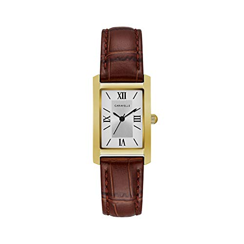 Caravelle Women's Quartz Stainless Steel and Leather Dress Watch, Color:Brown (Model: ()